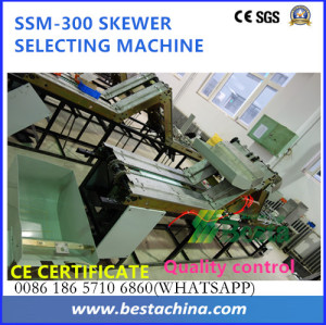 Skewer quality control machine, selecting machine