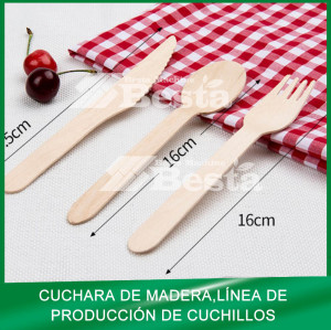 Cuchara de madera, tenedor, cuchillo que hace la máquina