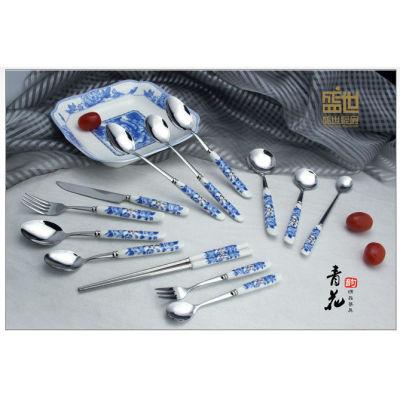 New ceramic tablware stainless steel ceramic knife fork spoon brand dinner fork spoon tableware