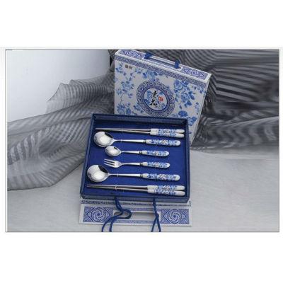 New ceramic tablware stainless steel ceramic knife fork spoon brand dinner fork spoon tableware Q-7A