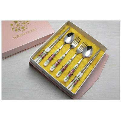 New ceramic tablware stainless steel ceramic knife fork spoon brand dinner fork spoon tableware promotion gift B16