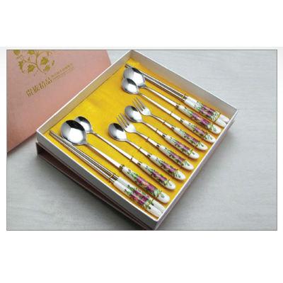 New ceramic tablware stainless steel ceramic knife fork spoon brand dinner fork spoon tableware promotion gift B19