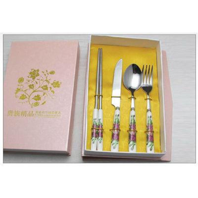 New ceramic tablware stainless steel ceramic knife fork spoon brand dinner fork spoon tableware promotion gift B14