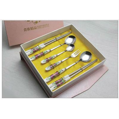 New ceramic tablware stainless steel ceramic knife fork spoon brand dinner fork spoon tableware promotion gift B17