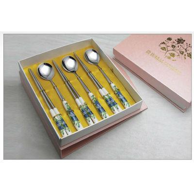 New ceramic tablware stainless steel ceramic knife fork spoon brand dinner fork spoon tableware promotion gift B15