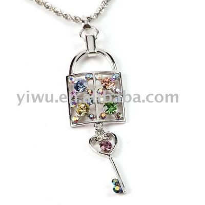 lock and key crystal stone pendant