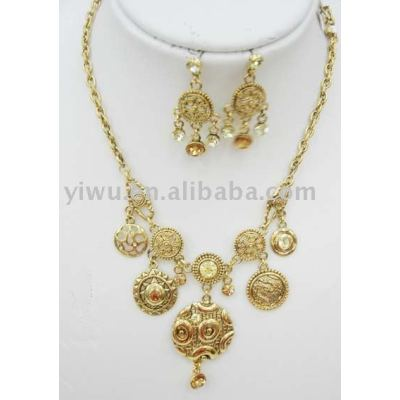 crystal stone gold jewelry set
