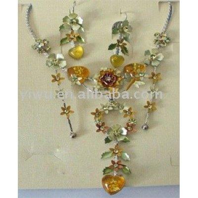enamel flower jewelry set