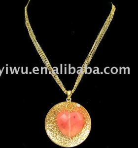 18K gold heart gemstone necklace