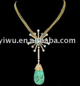 18K gold colorful rhinestone turquoise necklace