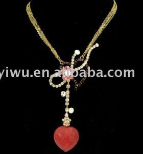 colorful rhinestone ruby onyx heart necklace