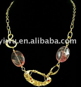 18K gold red rhinestone geometry necklace