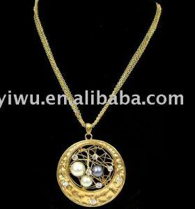 18K gold rhinestone pearl bird's nest necklace