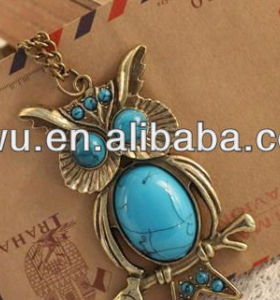2013 Fshion long cute owl vintage style necklace