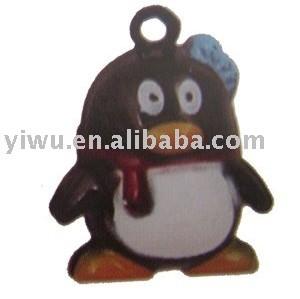 wearing red scarf penguin jingle bell