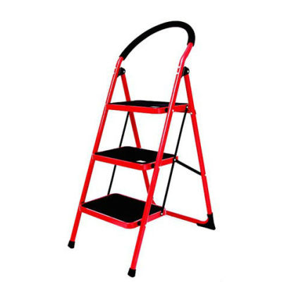 Steel round tube step ladder 3 steps 0.9 inch steel tube ladders