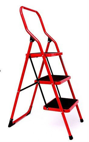 Steel rectangular tube step ladder 3 steps 0.9 inch steel tube ladders