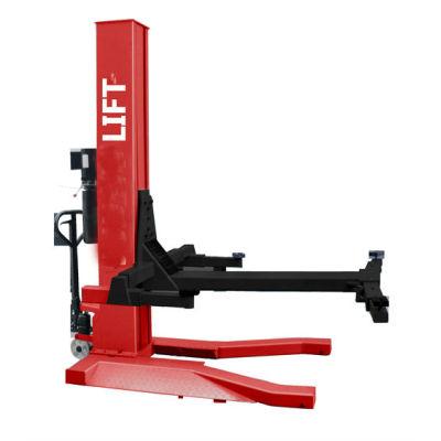 Moving hydraulic single post vehicle lift