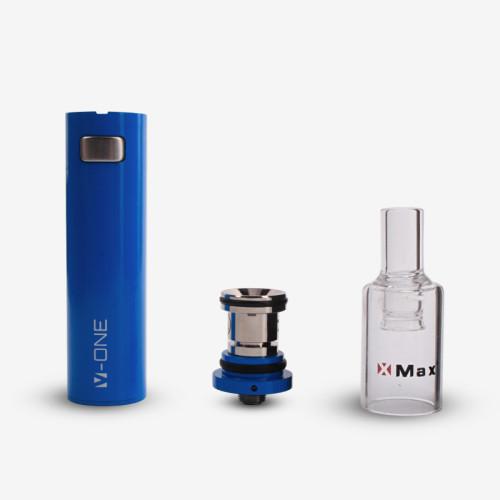 Portable wax vaporizer XMAX V-ONE BLUE quartz heating chamber vape pen
