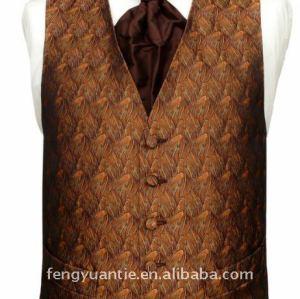 Orange Textured Woven polyester Waistcoat