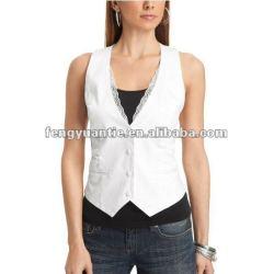 100% ladys algodão coletes colete branco terno