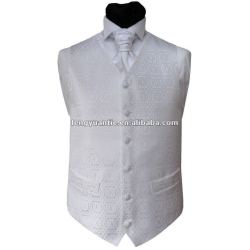 veste 100% branca do casamento do poliéster com laço
