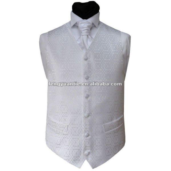 chaleco blanco 100% de la boda del poliester con el lazo