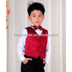 2 pcs red wedding waistcoat baby vest set