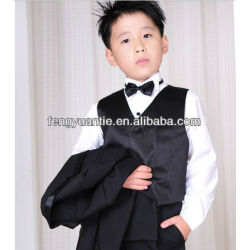 2 pcs black wedding waistcoat baby vest set