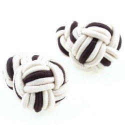 nice presente do negócio de seda dupla bola abotoaduras para homens