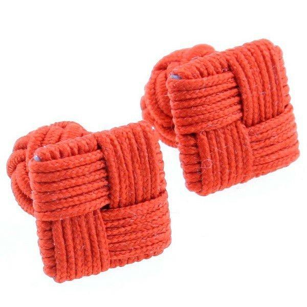 red square mens custom silk knot cufflinks