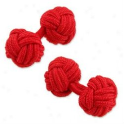 Solid red mens silk knot cufflinks