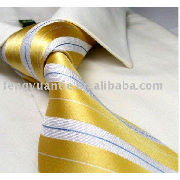 de estilo italiano de oro 100 raya de seda corbatas tejidas