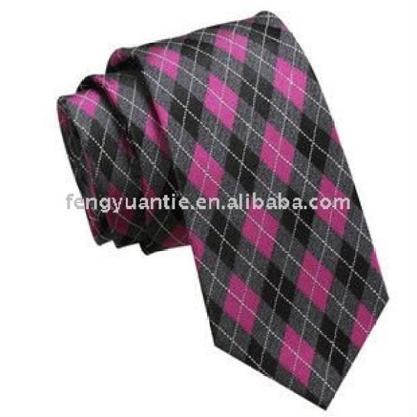 le rose a vérifié la cravate tissée en soie de logo de compagnie