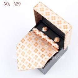 gemelos pañuelo de seda corbata set