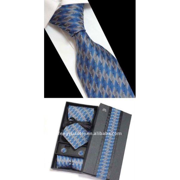Mens regalo bussinss 100% cravatta di seta set