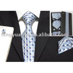 ensemble de cravate tissé par soie