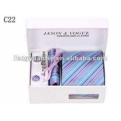 el regalo de negocios raya de seda corbata de marca conjunto