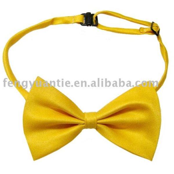 amarillo de encargo de poliéster corbata de moño
