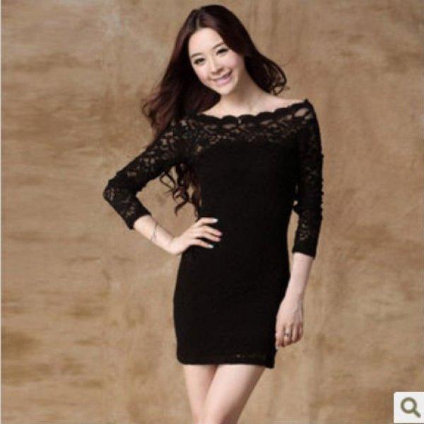 с длинным рукавом черные платья круёева дам ёорёет круёевами случайных платья