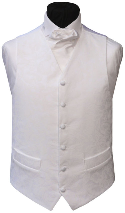 100% polyester white wedding vest with tie