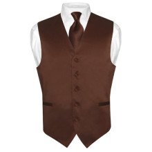 Men's CHOCOLATE BROWN Tie Dress Vest and NeckTie Set for Suit or Tuxedo