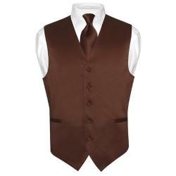 Men's CHOCOLATE BROWN Tie Dress Vest and NeckTie Set for Suit or Tuxedo
