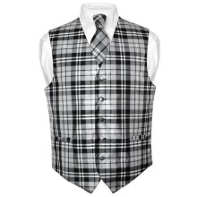 Men's Plaid Design Dress Vest NeckTie Black Gray White Neck Tie Set
