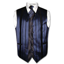 Men's Dress Vest & NeckTie Navy Blue Woven Neck Tie Stripe Design Set