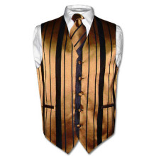 Men's Dress Vest & NeckTie Gold & Black Woven Neck Tie Stripe Design Set