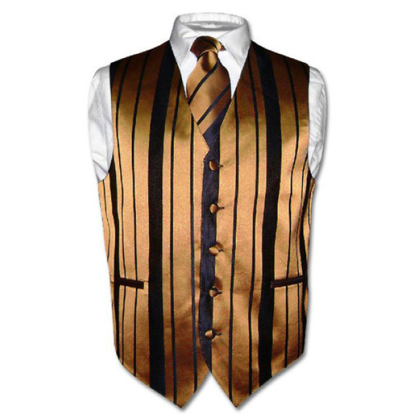 Men's Dress Vest & NeckTie Gold & Black Woven Neck Tie Stripe Design Set