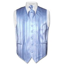 Men's Dress Vest & NeckTie Baby Blue Woven Neck Tie Stripe Design Set