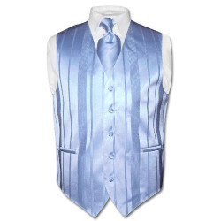 Men's Dress Vest & NeckTie Baby Blue Woven Neck Tie Stripe Design Set