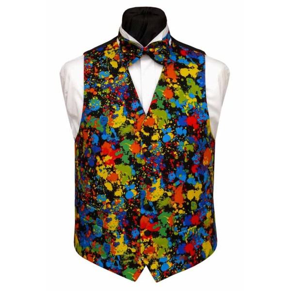 Colorful printed men's silk waistcoat